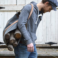 Waxed Canvas Shanty Man Log Carrier by Peg and Awl