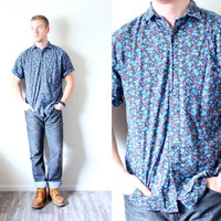 Retro vintage mens hipster floral shirt // Navajo // tribal print // button up short sleeve // Mens Medium large blue floral shirt