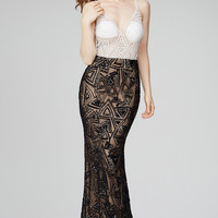 Jovani 33485 In Stock Size 4 Black/White Color Block with Geometric Sequin Designs Prom Dress