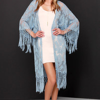 Oahu Loves You Light Blue Lace Kimono Top