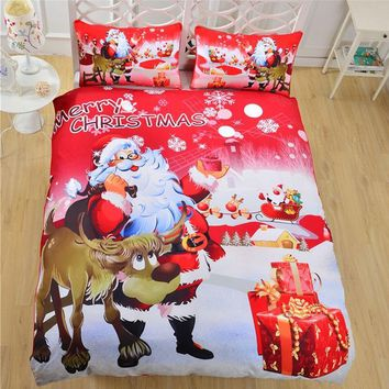 Cool Xmas Printed Comforter King Size Bedding Set Queen Twin Christmas Luxury Blue Bed Duvet Cover Red Sheet Set Linen Parure De LitAT_93_12