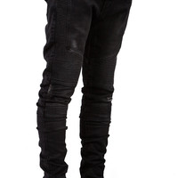 Black Stone Washed Distressed Biker Denim