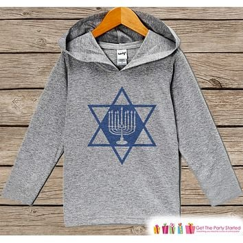 Hanukkah Sweater - Hanukkah Shirt With Menorah - Kids Holiday Outfit - Grey Kids Hoodie Pullover - Hanukkah Shirt Baby, Toddler, Youth