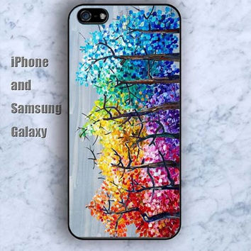 watercolor Rainbow tree colorful iPhone 5/5S case Ipod Silicone plastic Phone cover Waterproof