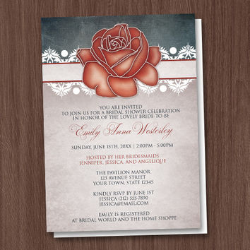 Rustic Country Rose Bridal Shower Invitations - Printed or Printable