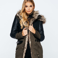 Faux Leather Panelled Duo Tone Fur Field Jacket