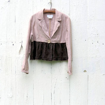 Brown Cropped Jacket , Upcycled Romantic Bolero , Eco Friendly altered repurposed bohemian clothing , one of a kind clothes by wearlovenow