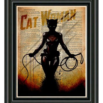 Cat Woman Print - Vintage pop art  - Retro Super Hero Art - Dictionary print art
