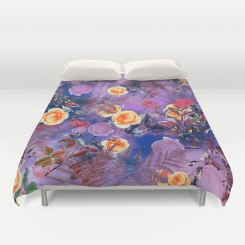 flowers purple Duvet Cover by jbjart