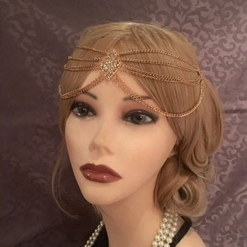 20's style GOLD DIAMOND 1920's Boho Indian Princess Drapes Gatsby Headchain 1920s head chain Gypsy Belly Dancer headpiece 20s headband