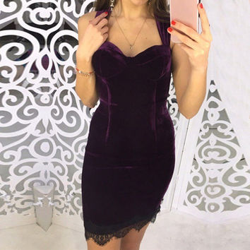 Velvet Party Dresses 2017 Summer Women Dress Sexy Spaghetti Strap V Neck Lace Patchwork Package Hip