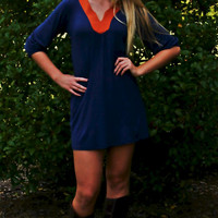 V-Neck Tunic Dress: Blue & Orange