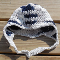 Crochet Baby Hat, Baby (3 -9 months),  Baby Ear Flap Hat, Cotton Ear Flap Hat, Blue, Silver, White and Grey