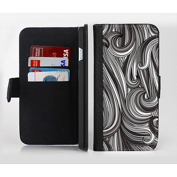 The Black & Gray Monochrome Pattern Ink-Fuzed Leather Folding Wallet Credit-Card Case for the Apple iPhone 6/6s, 6/6s Plus, 5/5s and 5c