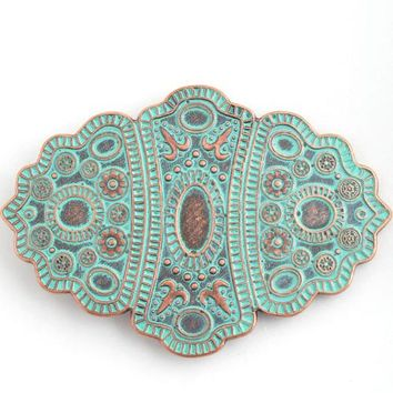 Aqua and Copper Finish Belt Buckle