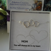 Silver Hearts Bracelet, A Mothers Love, Gift for MOM, Hearts and Pearl, Mothers Bracelet, Mother of the Bride Gift, Mothers Card