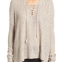 Love by Design Lace-Up Pullover | Nordstrom