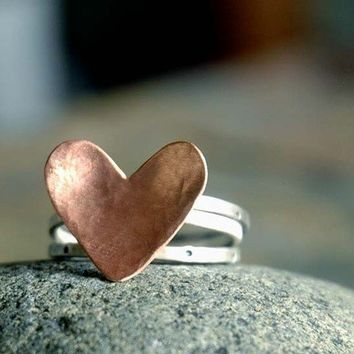 Copper Heart Stack Ring