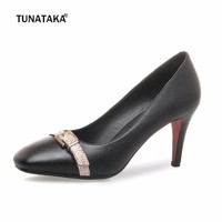 Beige Black Faux Leather High Heels Square Toe Women Dress Pumps Fashion Buckle Lazy Shoes Spring Autumn