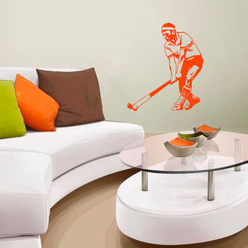 Wall Decals Sport Bandy  Hockey Player Club Ball Athlete Sports Game Team Sportsman Sporting Event Home Decor Vinyl Decal Sticker  ML132