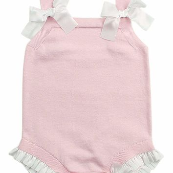 Pink Bowknot Baby Girl Knit Cotton Romper