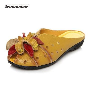 2017 Summer Slides Women Genuine Leather Flat Shoes Soft Outsole Casual Handmade Flowe