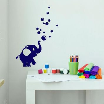 Vinyl Wall Decal Cartoon Baby Elephant Bubble Blower Stickers (2801ig)