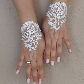Wedding gloves Original design ivory lace gloves,  lace glove, Unique lace glove,  french lace gloves,  gauntlets free ship
