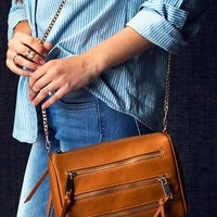 Triple Zipper Trimmed Crossbody