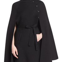 Carolina Herrera Belted Wool Cape, Black