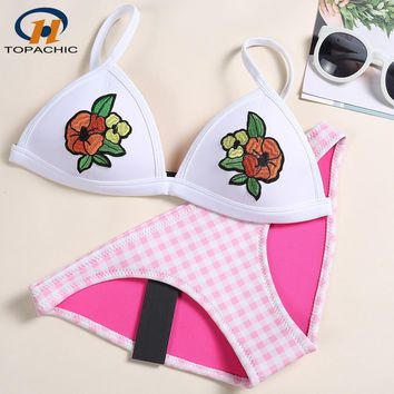 2019 Summer bathing suit Women's Bikini Sexy Swimsuit Set Bathsuit Swimwear Embroidery High Quality Neoprene Material Bikinis
