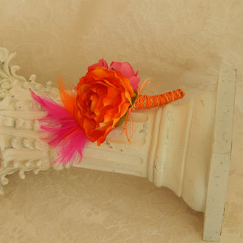 Wrist Corsage- 2 Piece Set- Orange- Pink- Wrist Corsage and Boutonniere- Made to Order
