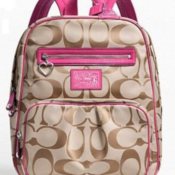 Coach Signature Daisy Backpack Carryall Bag 22948 Khaki Raspberry Pink
