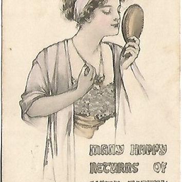 Beautiful Woman in Gown admiring herself in Mirror - Antique Postcard Birthday Greetings  May L Farin 1910