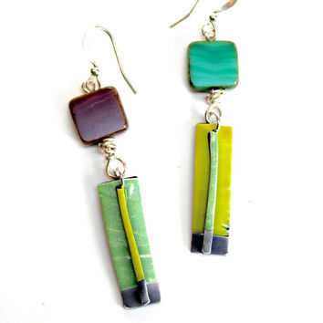 Polymer Clay Dangle Earrings, One Of A Kind Funky Organic Jewelry, Lime Green, Turquoise Blue, and Purple - Lightweight Earrings - OOAK