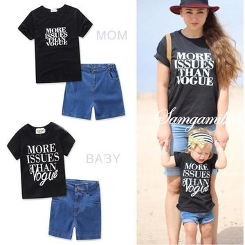 2pcs Two Pieces Family Clothing Set Matching Outfits Ins Mother and Daughter Clothes Shirt + Jeans Shorts Boys Denim Short Pants