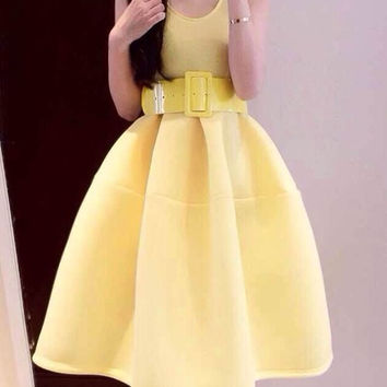 Yellow Sleeveless Ruffled Midi Dress