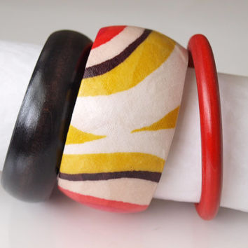 NEW SET of 3 Handcrafted Wood Bangle/Bracelet- Fabric Decoupaged - Mustard Color Accent