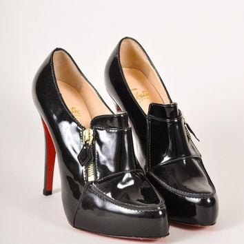 DCCK2 Christian Louboutin Black Patent Leather Loafer Lapono Booties