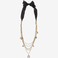 Ribbon Neck Layered Charm Necklace