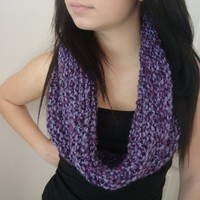 Hand Knitted Neck Warmer - Infinity Scarf - Eternity Scarf - Circle Scarf - Purple Cowl - Gift for Her