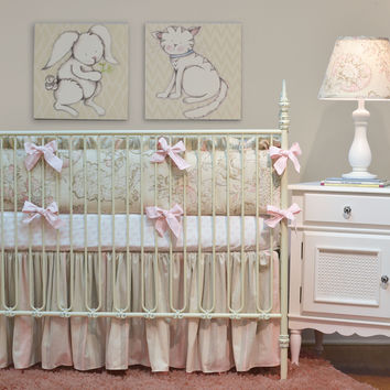 Peony Crib Bedding | Ivory and Pink Baby Bedding