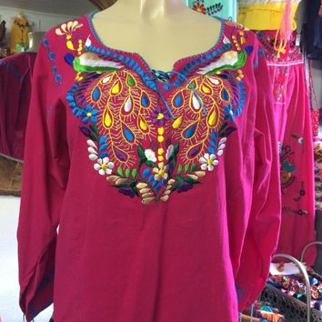 Amazing Mexican Embroidered Peacock Blouse Hot Pink