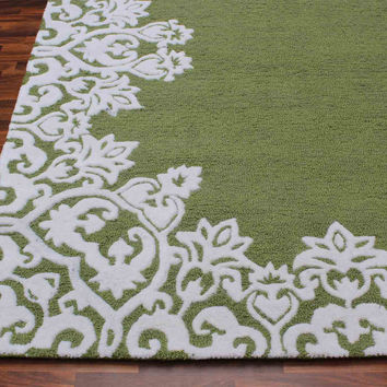 Laguna Green White Kids 5 x 8 Floral Persian Style Wool Area Rug