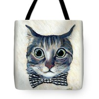 "Good Boy Cat With A Checked Bowtie Tote Bag 18"" x 18"""