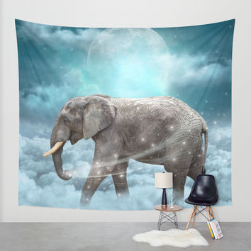Walk With the Dreamers (Elephant in the Clouds) Wall Tapestry by Soaring Anchor Designs