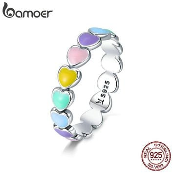 BAMOER Authentic 925 Sterling Silver Stackable Rainbow Heart Finger Rings for Women Wedding Engagement Ring Jewelry Anel SCR444