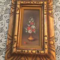 Italian Oil on Board Painting, Vase with Flowers, Ornate Gold Wood Frame, Roses and Daisies, Artist Fermi