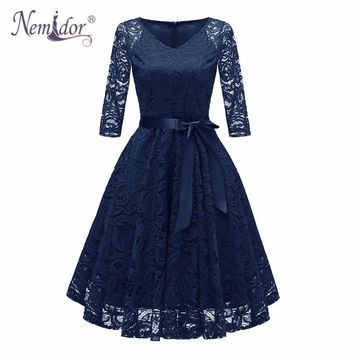 Nemidor 2018 Women Sexy V-neck Swing A-line Summer Dress Elegant 3/4 Sleeve Patchwork Midi Party Retro Lace Dress