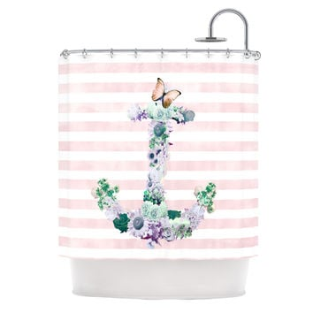 "Nika Martinez ""Floral Anchor"" Pink Stripes Shower Curtain"